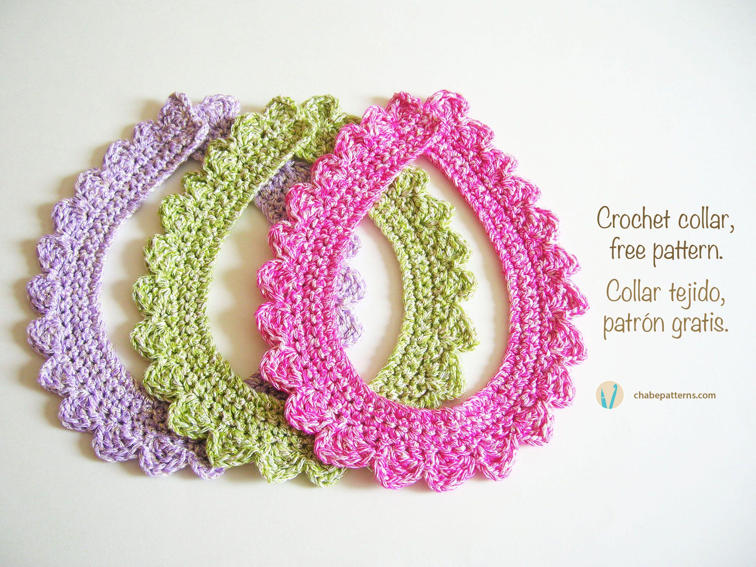 Crochet collar, free pattern, diy/ Collar tejido, patrón gratis ...