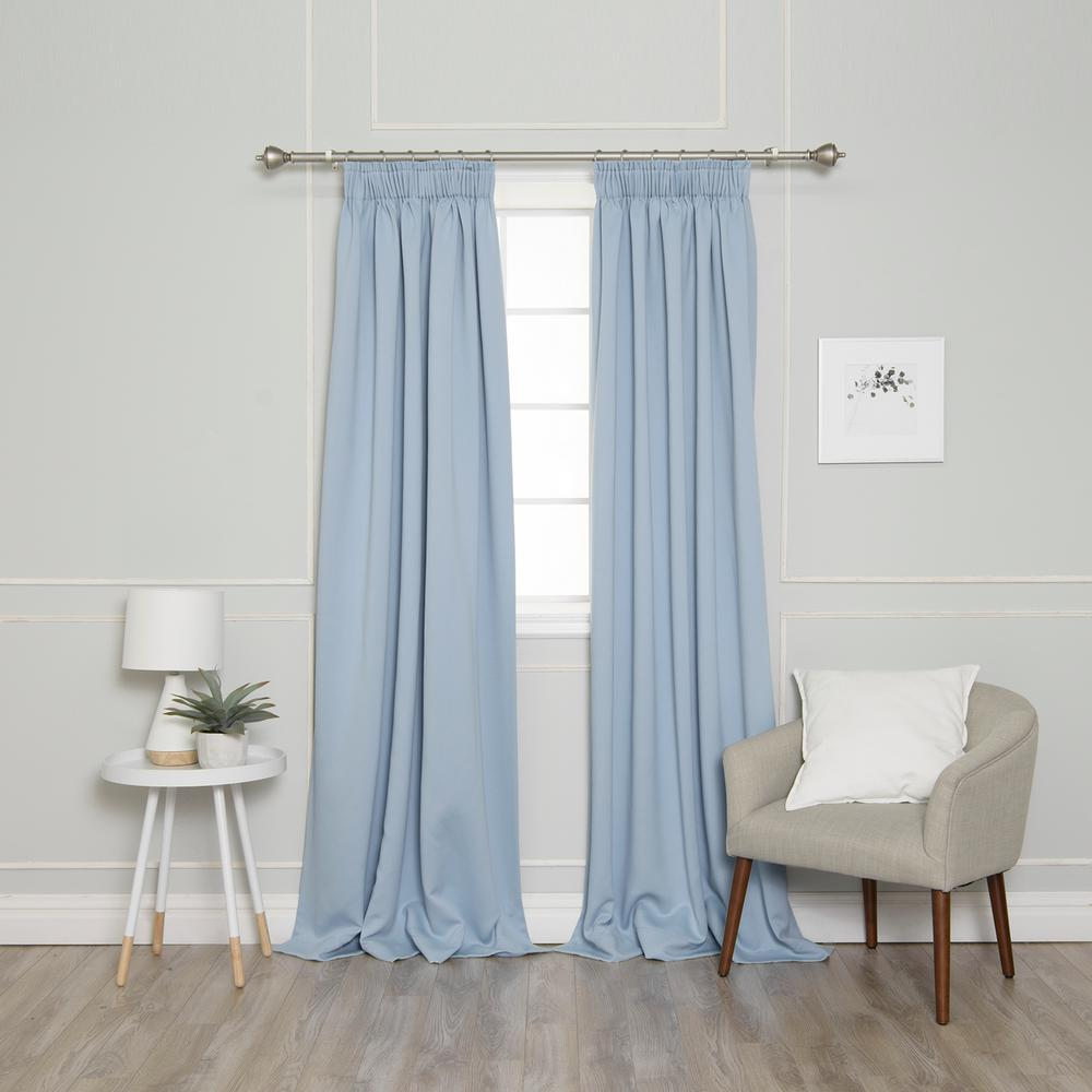 Best Home Fashion 84 in. L Pencil Pleat Blackout Curtains in Sky Blue  (2-Pack)-YG_49_RDP_BO_3STRING-84-SKYBLUE - The Home Depot | Light blue  curtains, Blue blackout curtains, Blue curtains bedroom