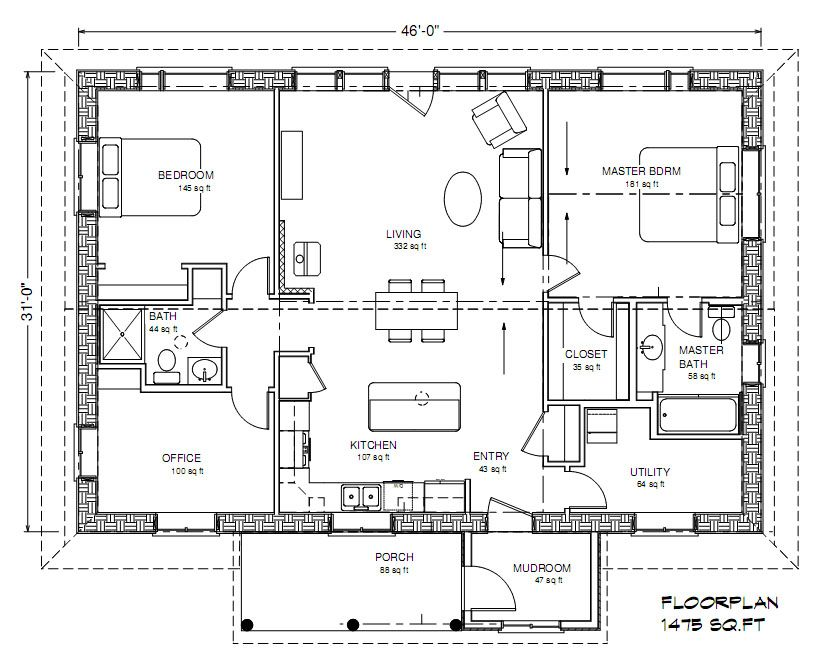 Eco Family 1400 Plan House plans, Straw bale house, 1500