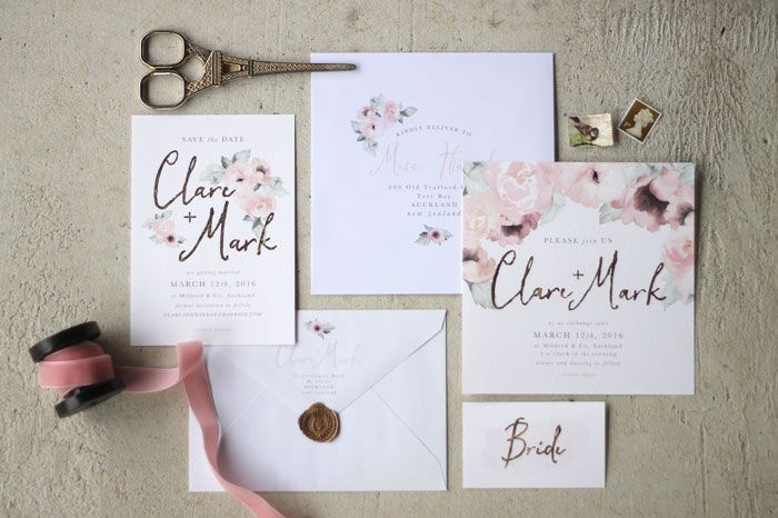 Just my type wedding stationery and wedding invitation design nz just my type wedding stationery and wedding invitation design nz pretty floral pink gold watercolour roses peonies stopboris Gallery