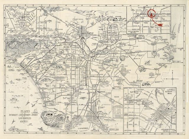 Old Timey Map From 1929 Shows Fun Stuff People Used To Do In Los Angeles Los Angeles Map Map California Map