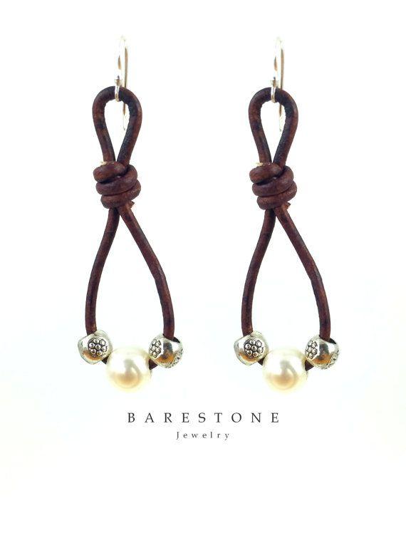 Women's Short Freshwater Pearl Earrings Brown Leather by BARESTONE