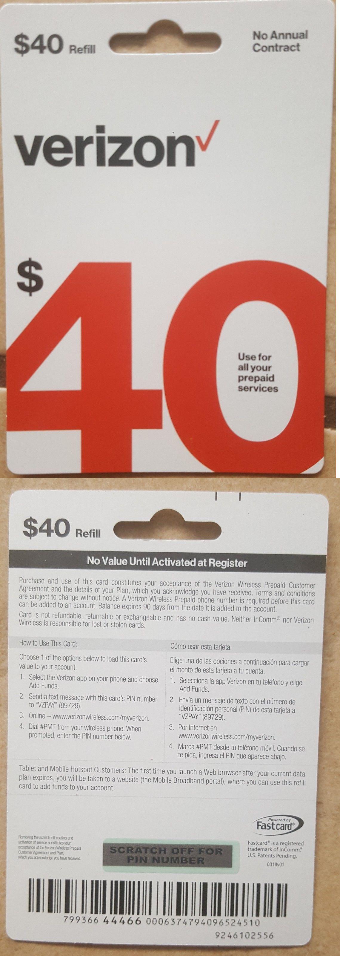 Phone And Data Cards 43308 40 Verizon Wireless Prepaid Refill