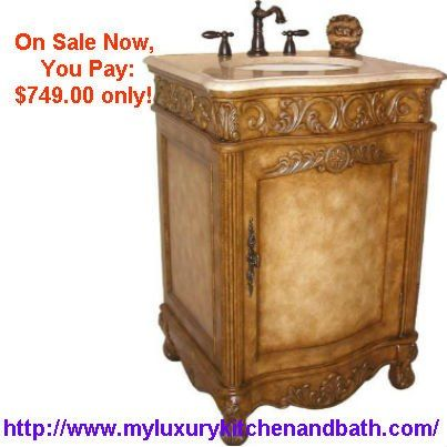 Bathroom Vanity Cabinet Set with Marble Top, Sink, Antique Ivory ...