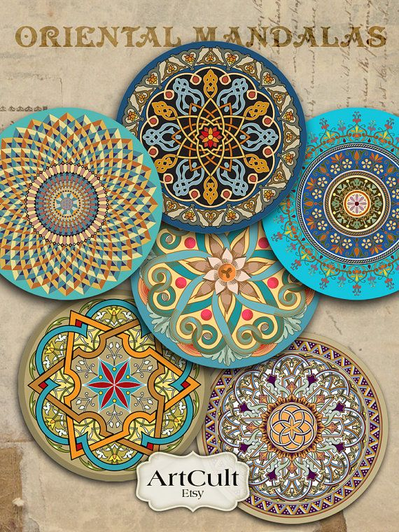 ORIENTAL MANDALAS - 2.5 inch Digital Collage Sheet for Pocket Mirrors Magnets Paper Weights Printable Spiritual images