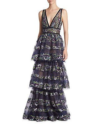 Marchesa Notte Embroidered Stripe Tiered Gown