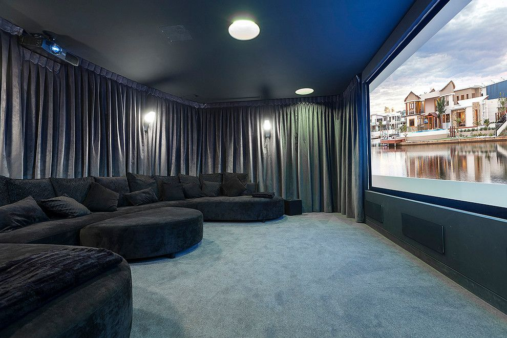 fantastic cozy sofas ideas in home theater contemporary Small Basement Home Theater Basement Home Theater Design Ideas