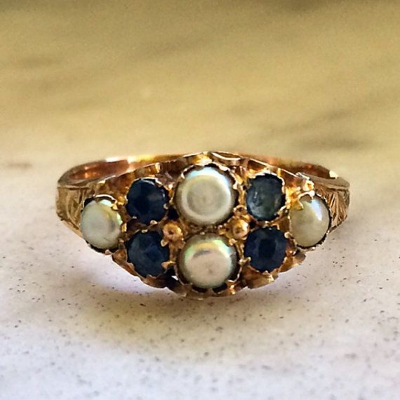 9ct gold sapphire and split seed-pearl ring by APocketOfRocks