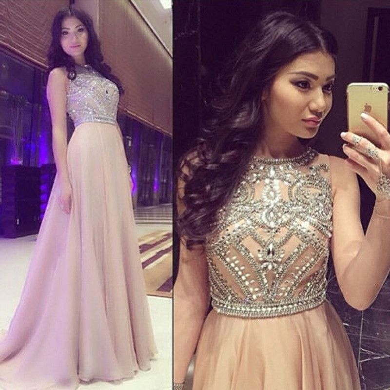 A Line Scoop Neck Beaded Crystal Long Sweep Train Chiffon Champagne Prom Dress Women Formal Party Gown Prom Dresses Sleeveless Long Prom Gowns Evening Dresses Prom