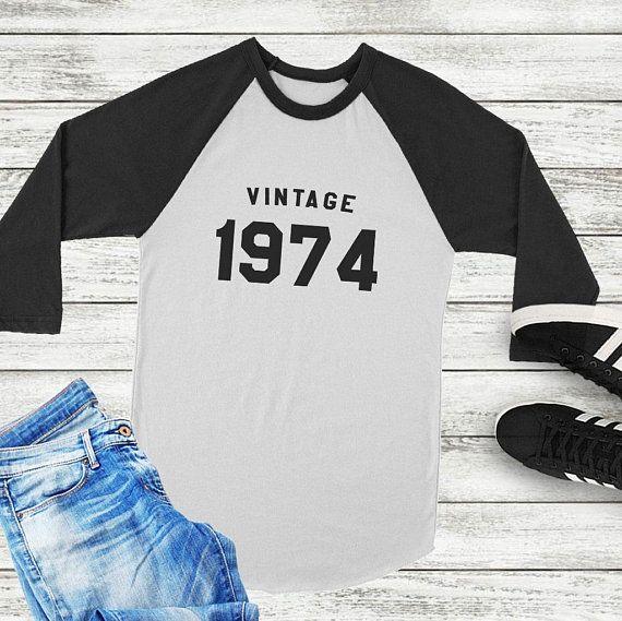 Vintage 1974 44th Birthday Gift For Women Graphic Tees Shirts Tshirts Raglan