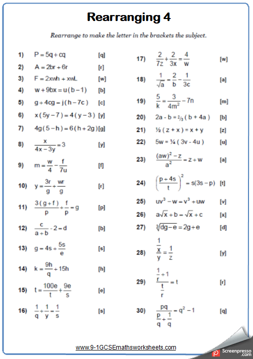 Rearranging formulae worksheet | GCSE Maths Worksheets and Answers ...