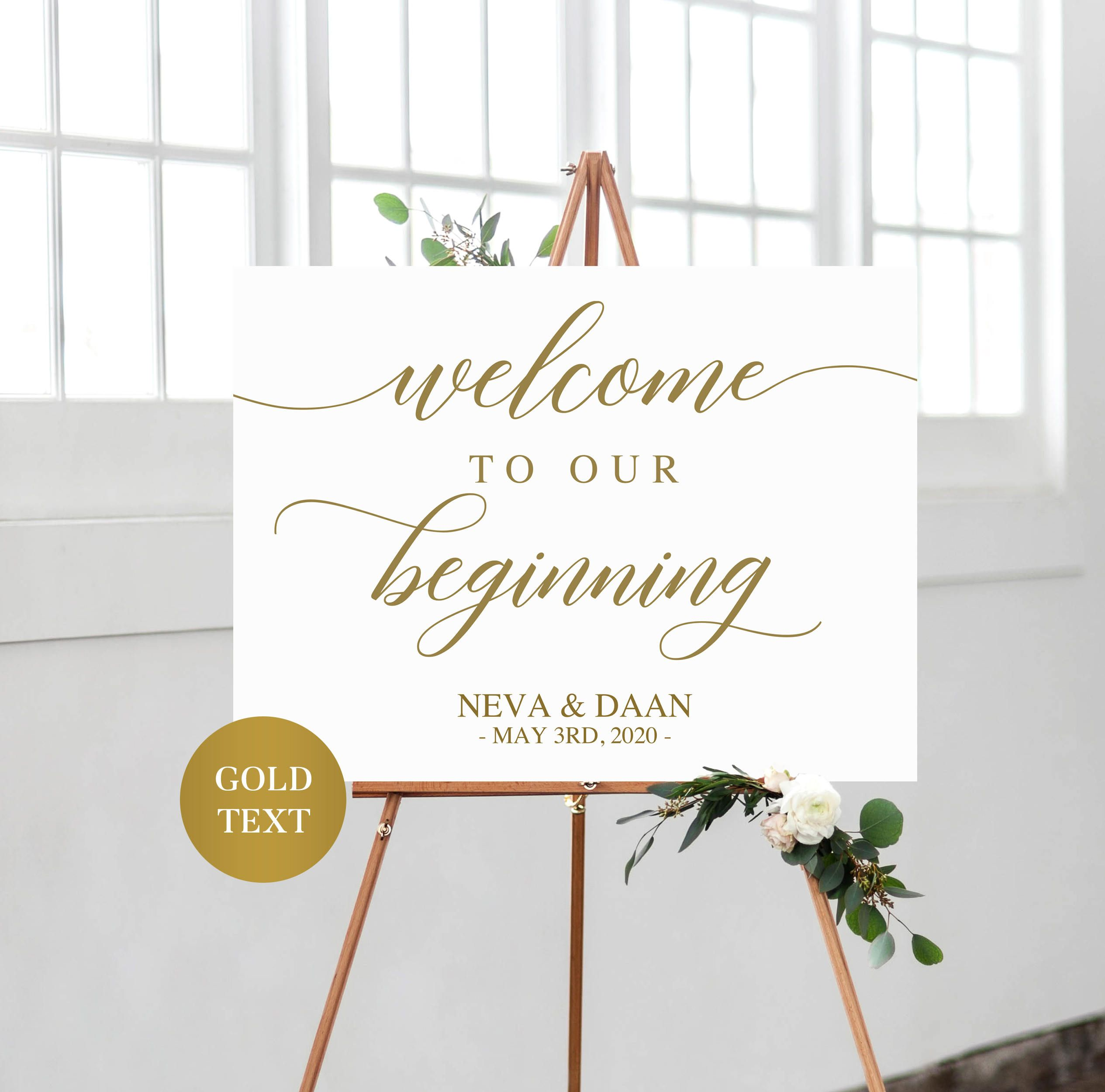 Gold wedding welcome sign printable wedding sign personalized