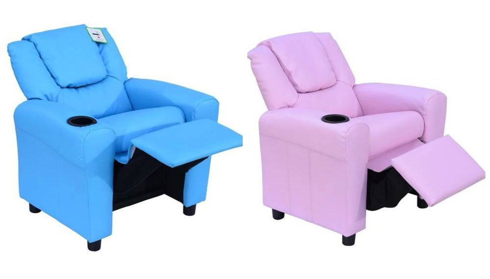 Chaise Lounge Sofa Children Gaming Chair Recliner Single Sofa Armchair Relax Cup Holder Blue Pink