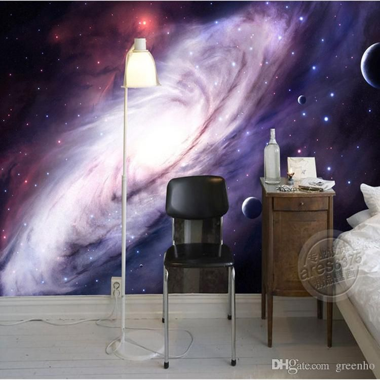 3D Purple Galaxy Wallpaper For Bedroom Charming Wall Mural Silk Photo Painting Large Art Ceiling Kids Room Decoration