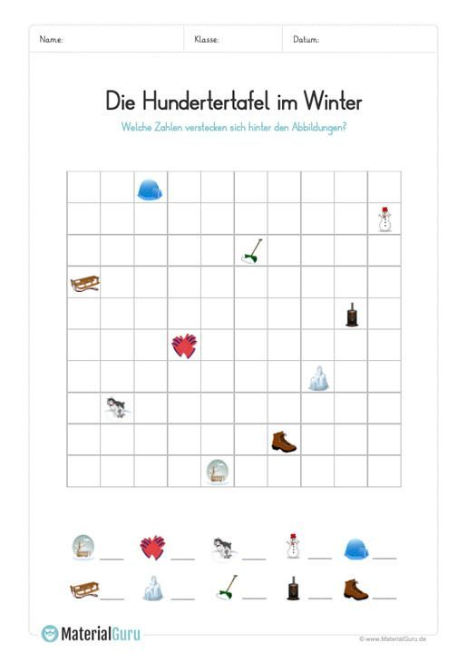 Ein kostenloses Mathe-Arbeitsblatt zum Thema Hundertertafel, auf dem die Kinder eine Hundertertafel zum Winter finden und die gesuchten Zahlen aufschr…