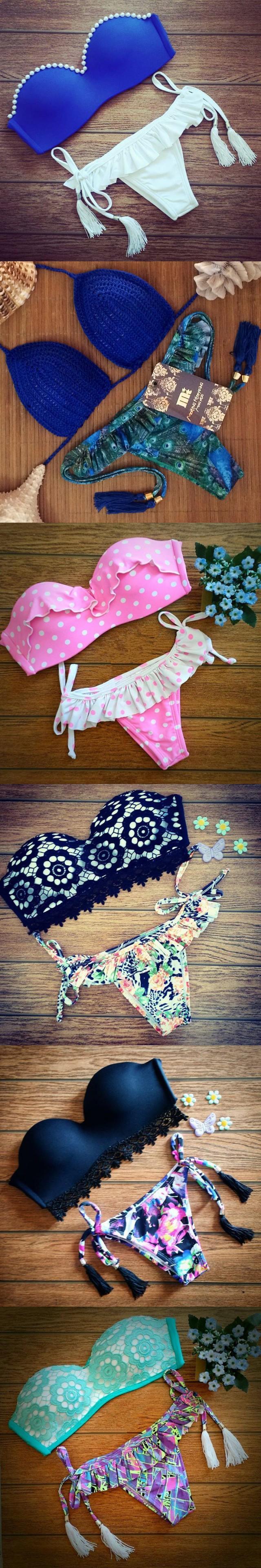 The 2015 Summer Triangle Bikini suit swimwear gather Bikini Brazil Vintage Lace fashion sexy swimsuit free shipping $17.15
