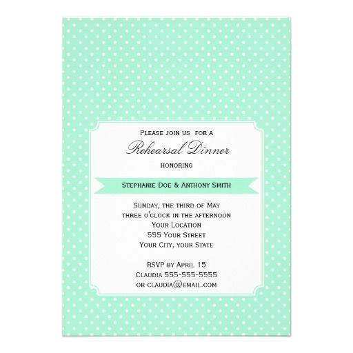Monogram Magic Mint and White Polka Dot Wedding Custom Invitations