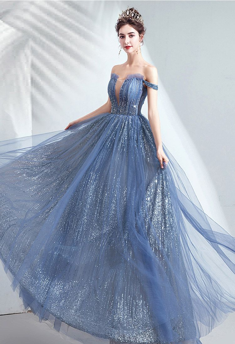 Princess Off The Shoulder Lace Up Ball Gown With Sequins From