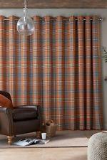 Next Orange Tartan Woven Check Eyelet Curtains 228 X 229cm 90 X 90 Living Room Decor Orange Tartan Curtains Curtains