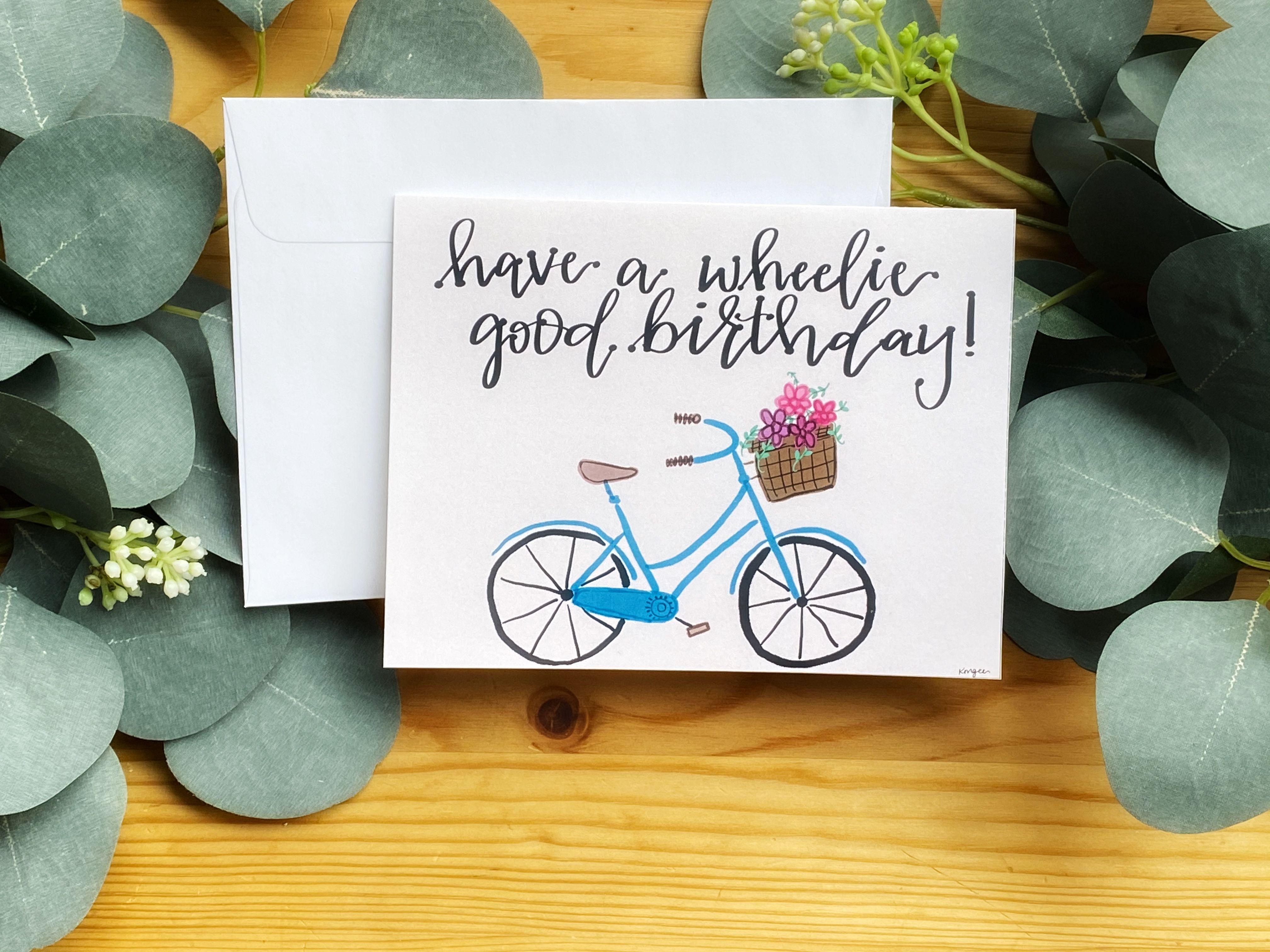 Custom Birthday Card I Love This One Birthday Happybirthday Card Bikecard Bike Hand Lettering Cards Custom Cards Letter Paper