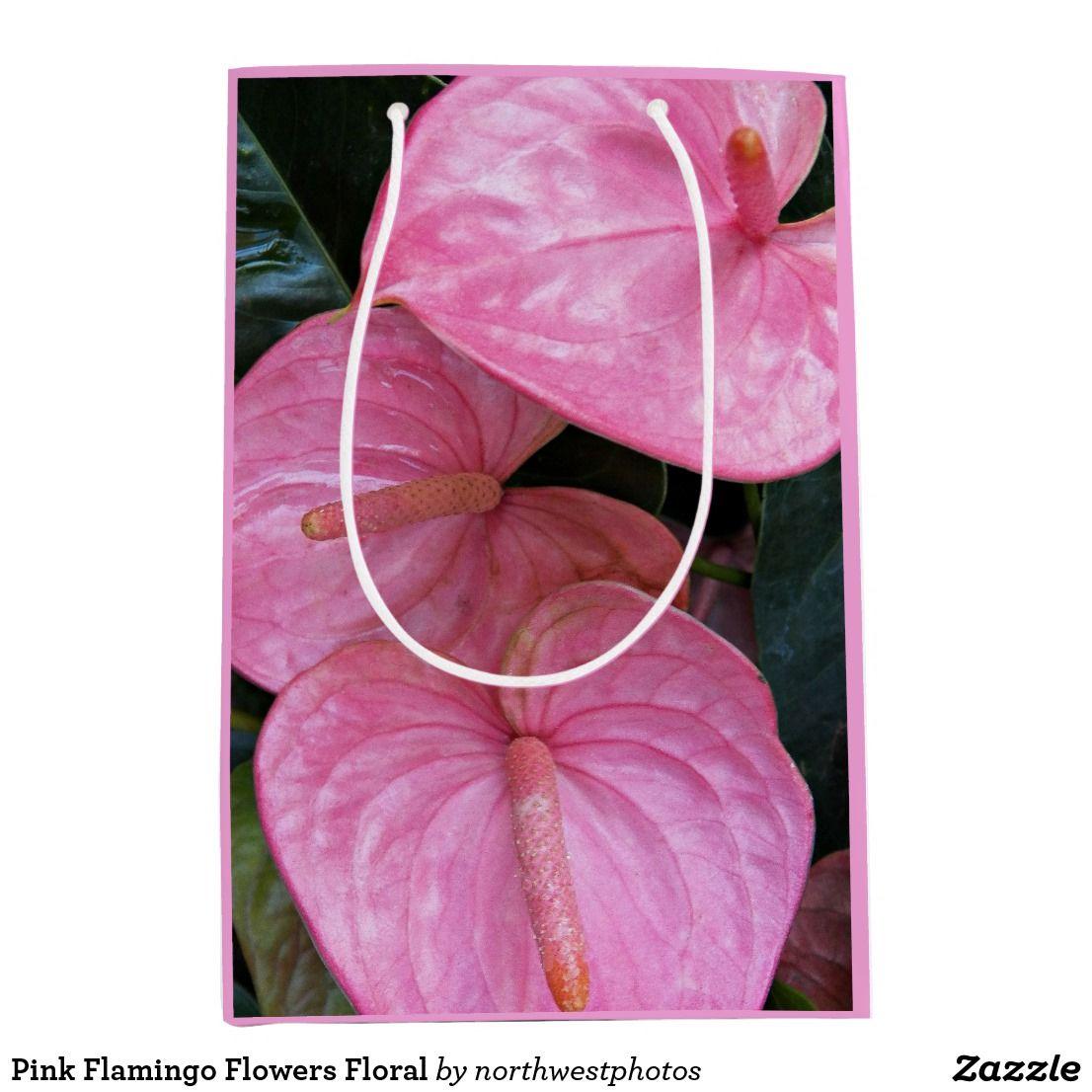 Pink Flamingo Flowers Floral Medium Gift Bag Gift Wrap Supplies