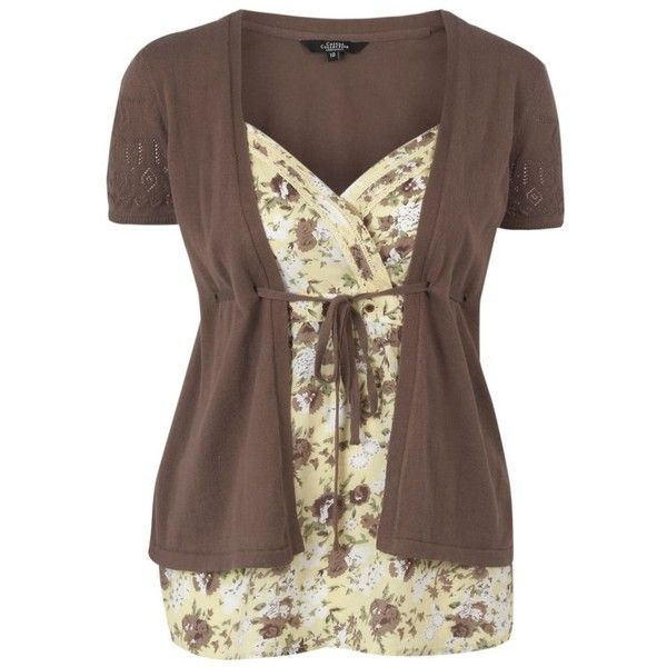 Pale yellow floral two in one cardigan and camisole set