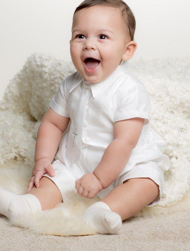 6ea1115edcf6 Baby boys white christening romper - Joseph