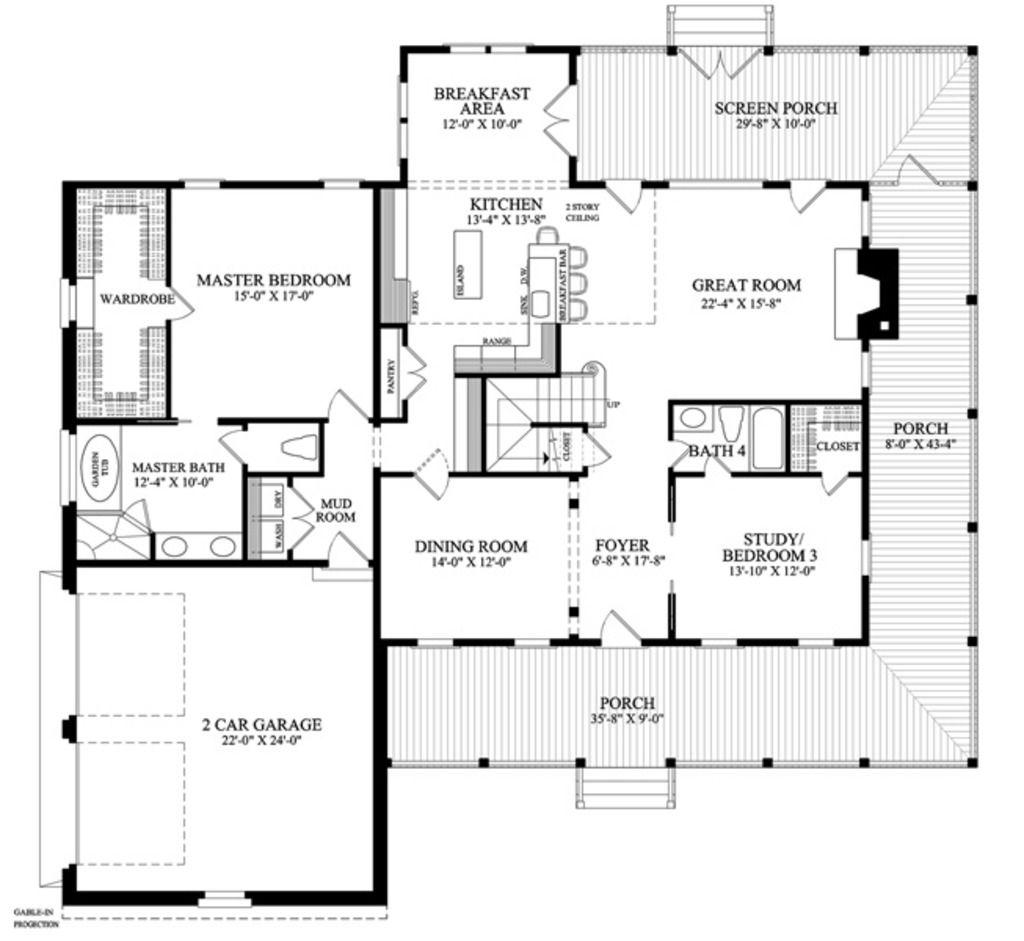 floor plan 5br 4ba country farmhouse home