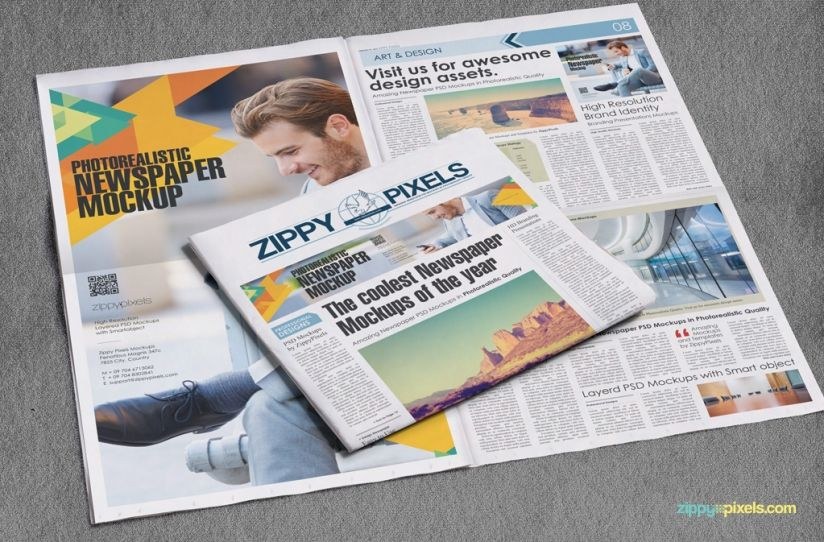 Beautiful Indoor Newspaper Advertising Mockups  Mock Up