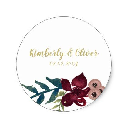 Marsala Blush And Gold Floral Wedding Invitation Classic Round Sticker