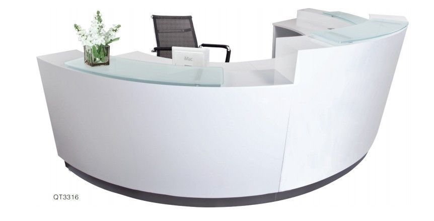 High Quality Semi Circle Half Round Exhibition Glass Top Reception