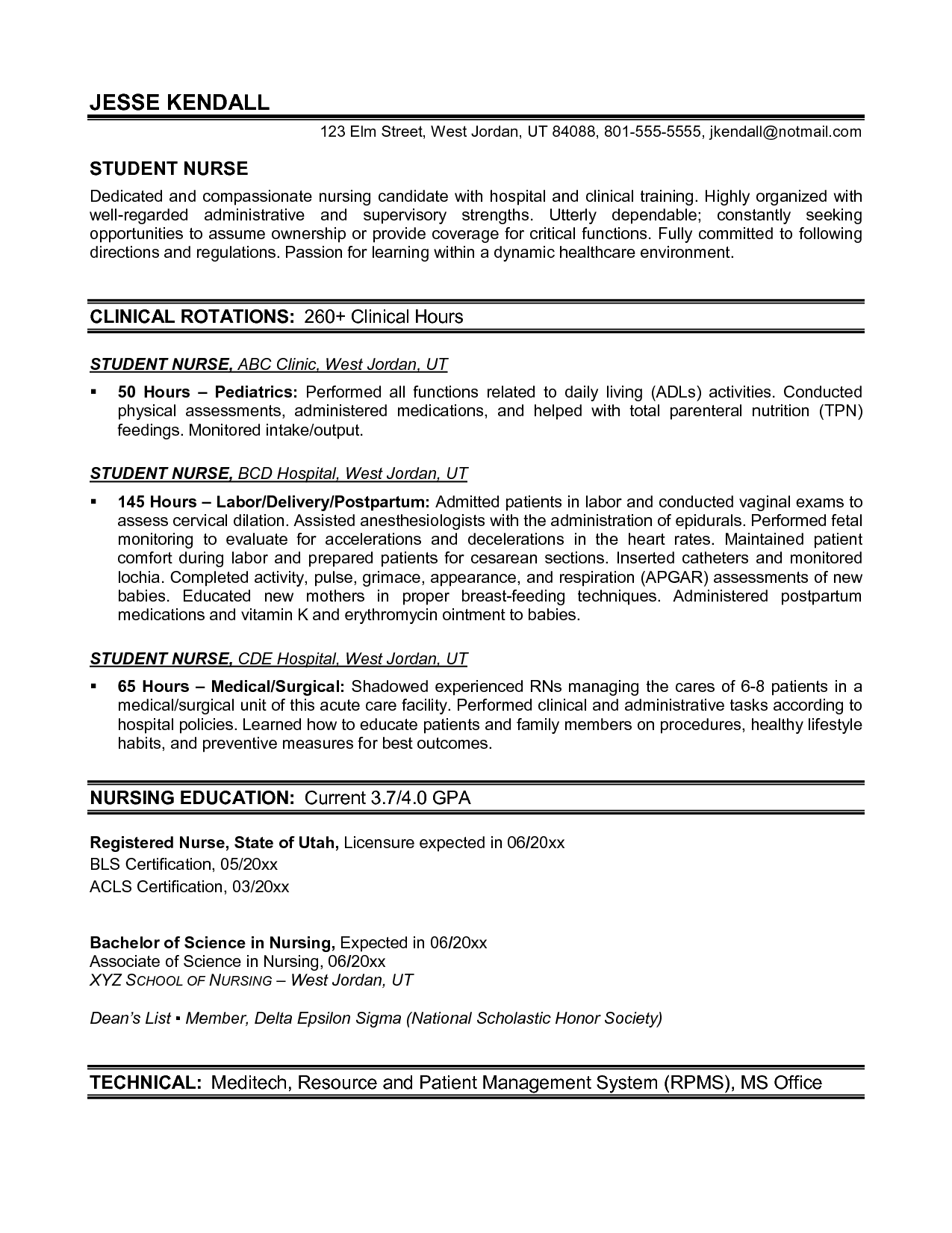 Resume Template Nursing Student Nurse Lpn Software