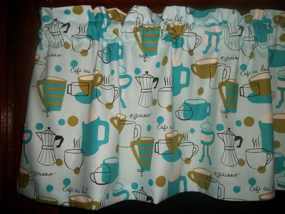 Valance Retro Turquoise Olive Green Coffee Cup Espresso Pot Cafe Kitchen Curtain 4 My