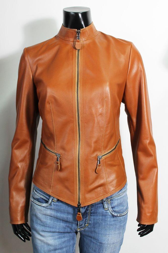 852f97a10 Italian handmade women soft lambskin leather jacket color tan size ...