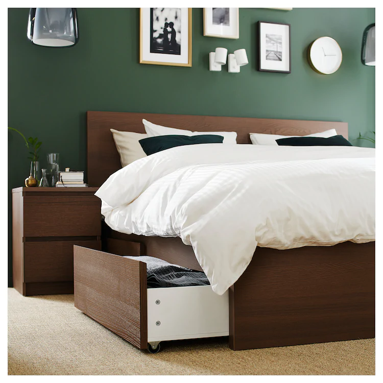 Malm High Bed Frame 4 Storage Boxes Brown Stained Ash Veneer Ikea Malm Bed Frame High Bed Frame Malm Bed