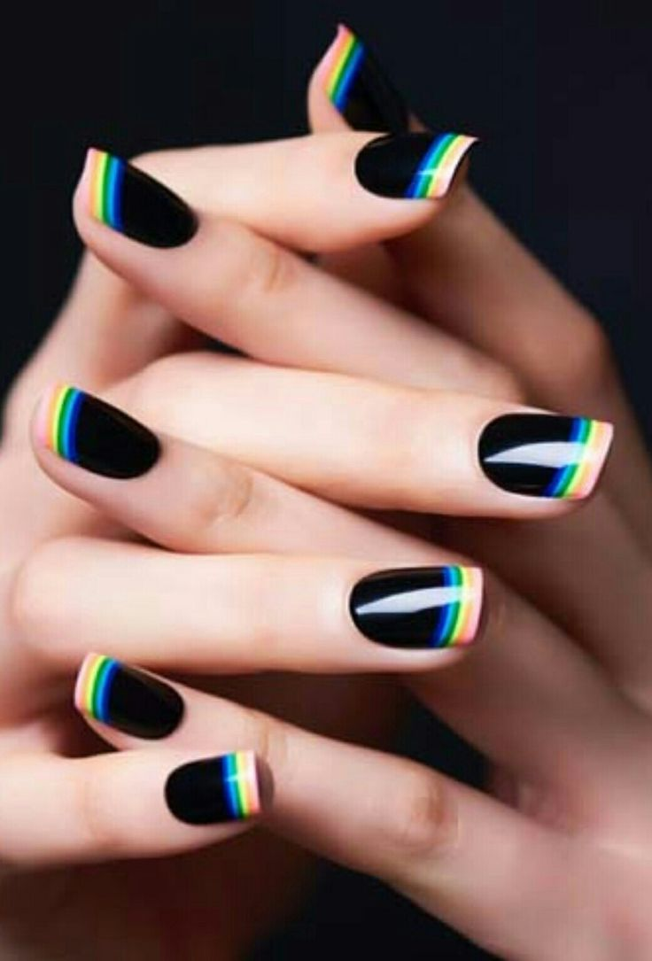 black nails with rainbow french