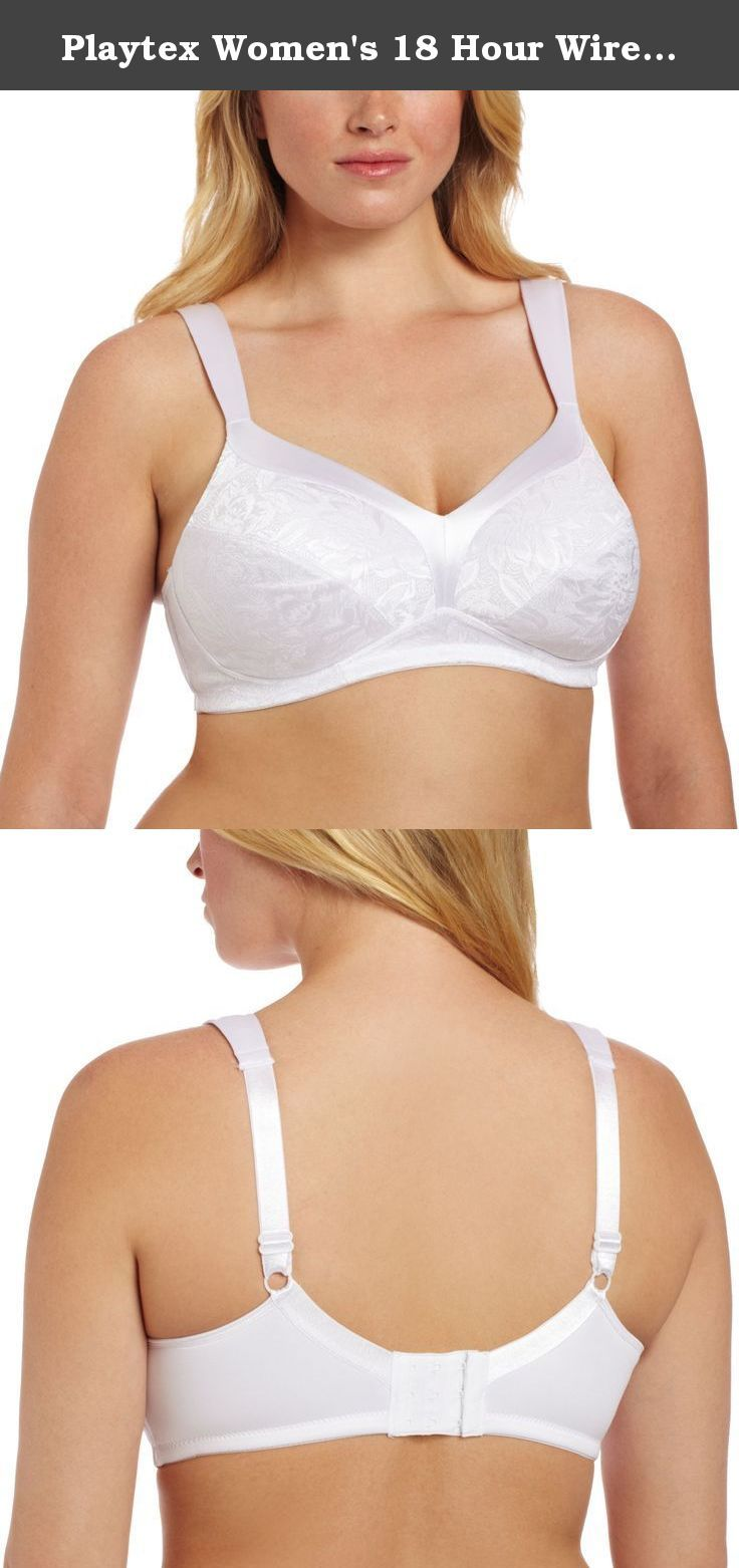 662aa00449d2 Playtex Women's 18 Hour Wirefree Gel Comfort Strap Bra,White,40DDD. Playtex  bras