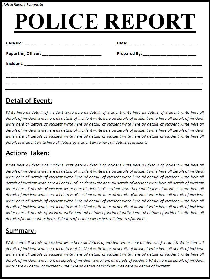 Printable Sample Police Report Template Form Police Report Report Template Incident Report Form