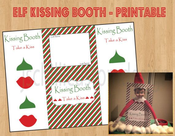 photo regarding Elf on the Shelf Kissing Booth Free Printable identified as PRINTABLE Shelf Elf Influenced Kissing Booth by means of