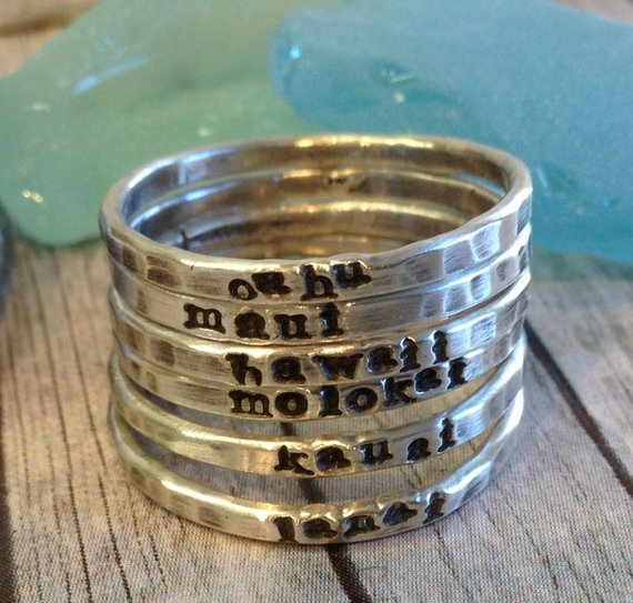 Photo of New skinny personalized stackable stacking rings sterling silver stackers tiny font hand stamped dainty jewelry stack as many as you want