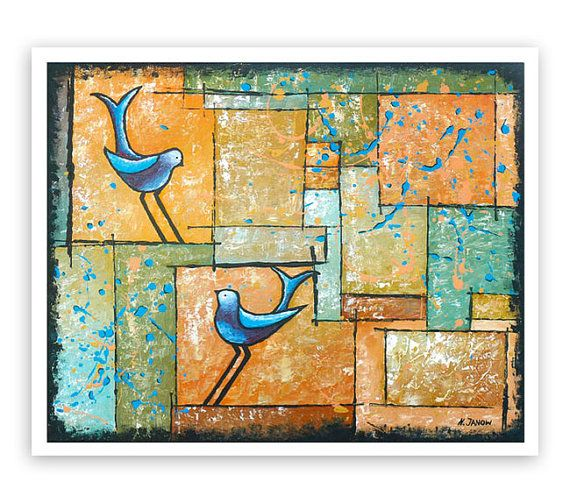 Blue Birds Fine Art Print Rustic Wall Art Home by hjmArtGallery ...