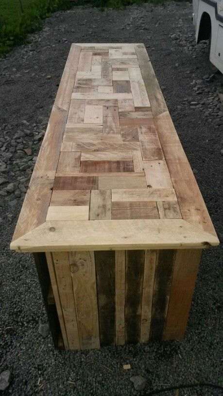Patchwork Bar Top Made From Offcuts Of Pallet Wood Wood Bar Top Bar Furniture Wood Offcuts Ideas