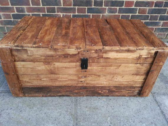 Rustic Handmade Treasure Chest style Trunk ideal storage coffee