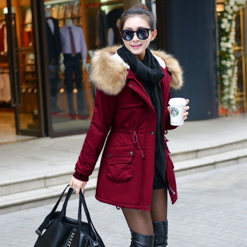 YONGM Womens Stylish Faux Fur Parka Coat Long Lapel Trech Jacket Winter Outerwear