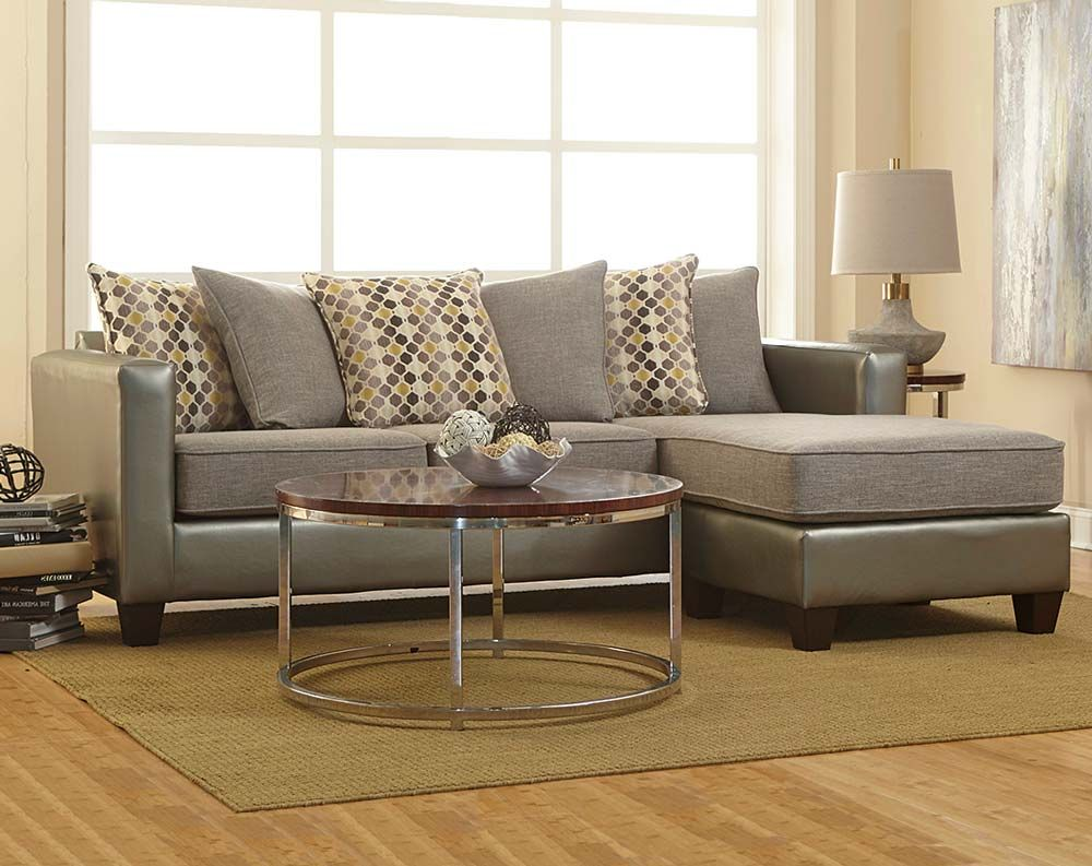 Two toned in shades of gray the Quatro Canary 2 Piece Sectional is Small RoomsLiving Room
