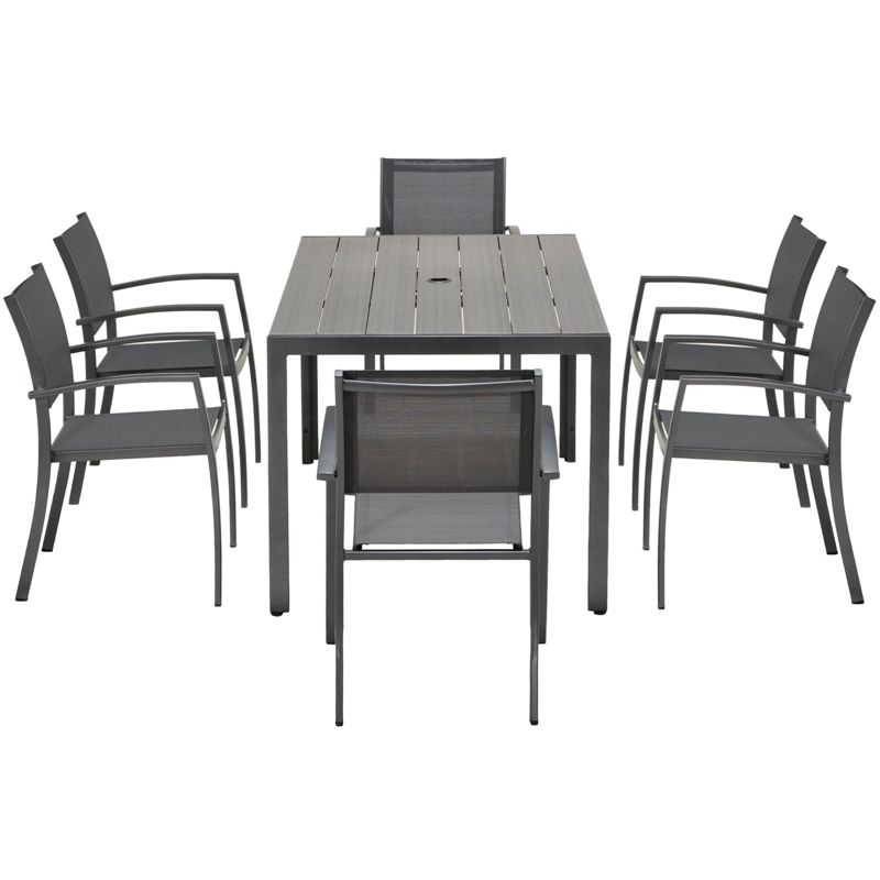 Halden Aluminium 6 Seater Rectangular Garden Furniture Set At