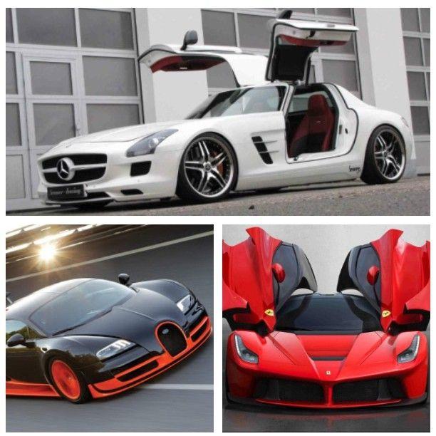 Three sexy super cars!  Mercedes SLS AMG, Bugatti Veyron & Ferrari La Ferrari.  Which one should I drive today?