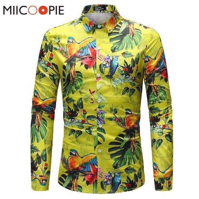 Mens Shirt Brand Clothing Parrot Printing Beach Leisure Fashion
