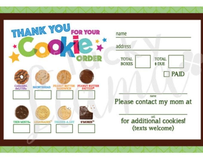 2017 girl scout cookie order form printable by theluckyllamas | girl