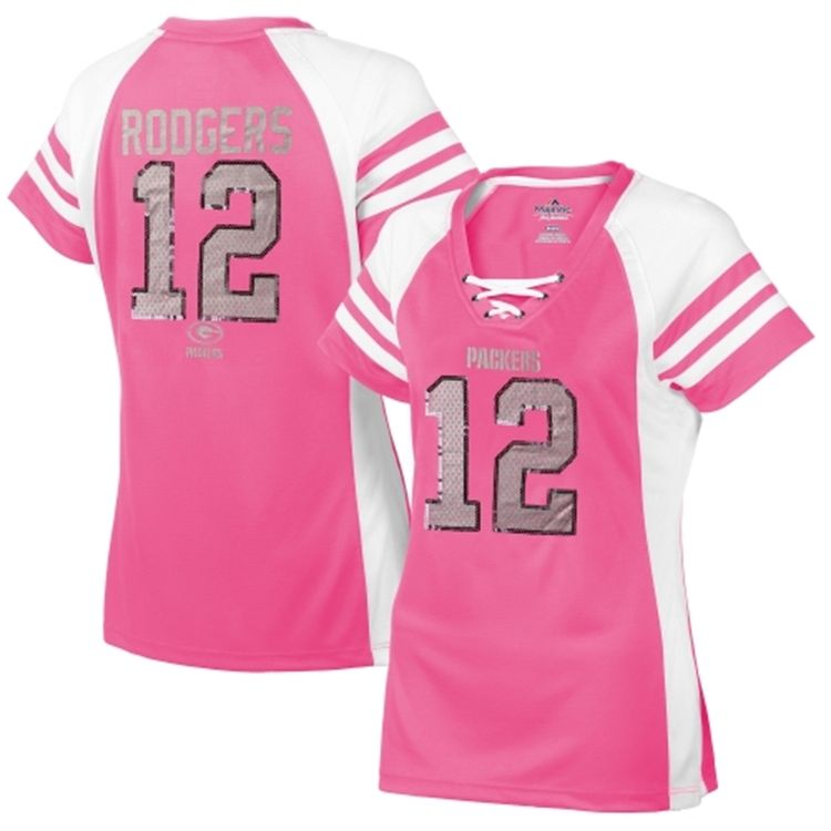 7ef6e414 Majestic Aaron Rodgers Green Bay Packers Women's Pink Draft Him IV T ...
